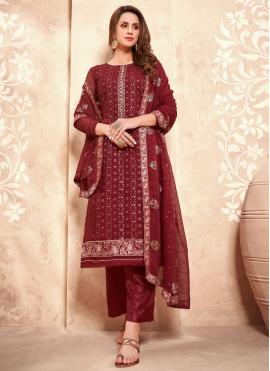 Faux Georgette Maroon Embroidered Designer Pakistani Suit