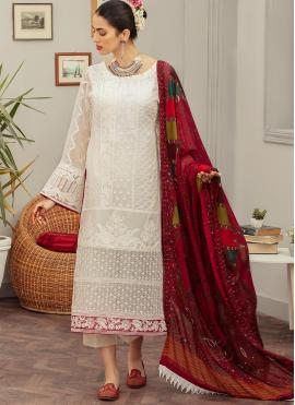 Faux Georgette Off White Designer Pakistani Suit