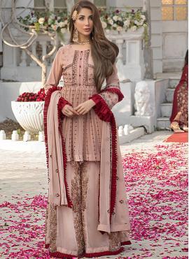 Faux Georgette Pink Designer Pakistani Salwar Suit