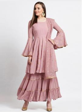 Faux Georgette Pink Fancy Readymade Suit
