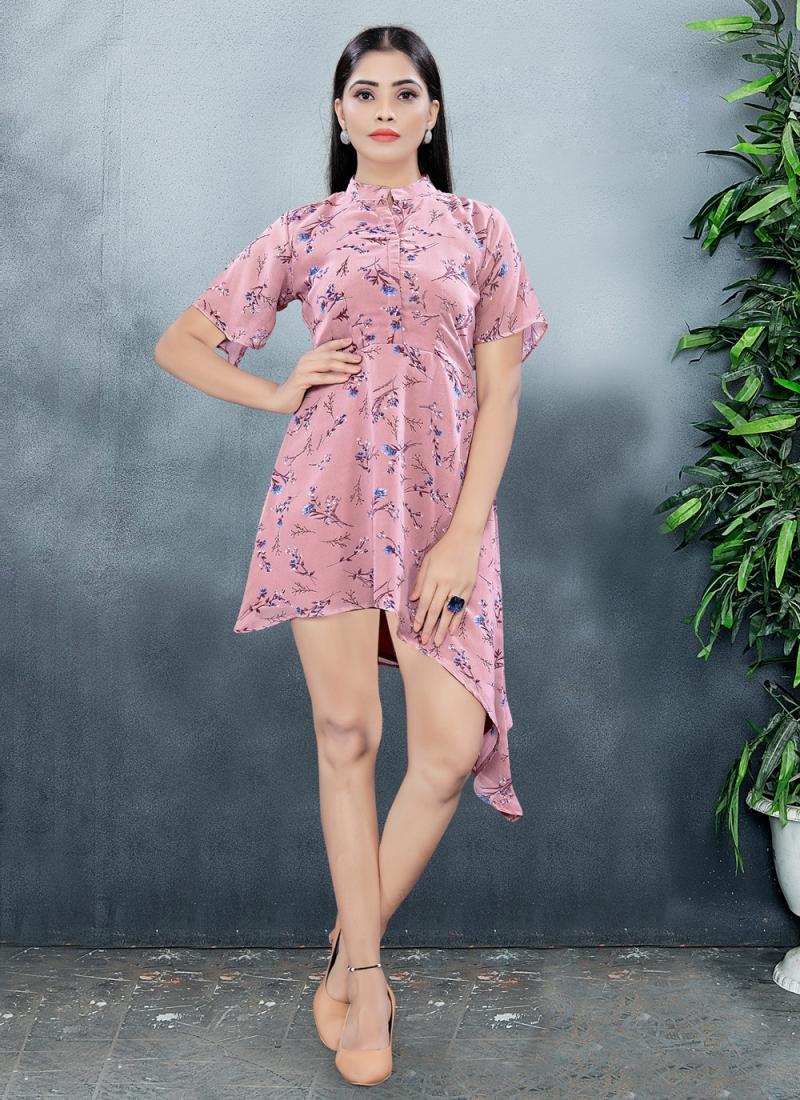 Faux Georgette Pink Print Designer Kurti