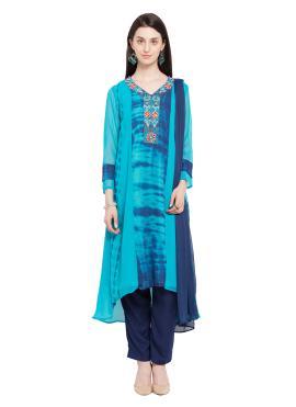 Faux Georgette Printed Readymade Salwar Kameez in Blue