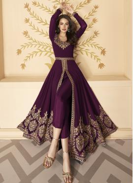 Faux Georgette Purple Anarkali Suit