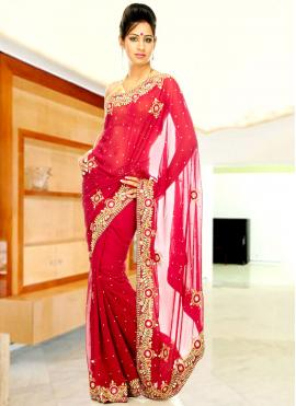 Faux Georgette Red Handwork Designer Saree