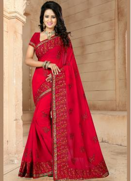 Faux Georgette Red Resham Classic Designer Saree