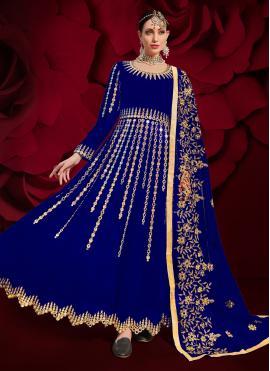 Faux Georgette Resham Floor Length Anarkali Suit in Blue
