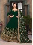 Faux Georgette Resham Green Floor Length Anarkali Suit - 1