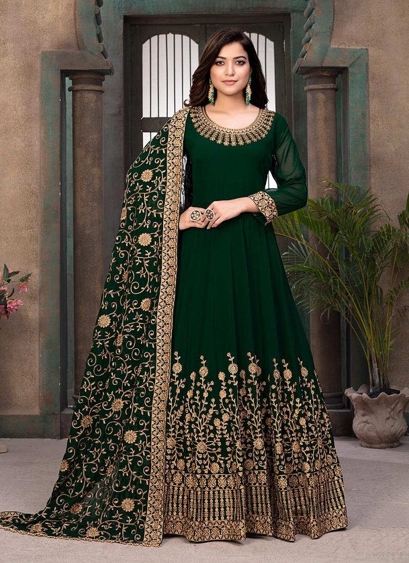 Faux Georgette Resham Green Floor Length Anarkali Suit