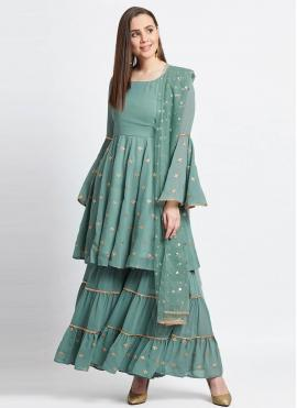 Faux Georgette Sea Green Readymade Suit