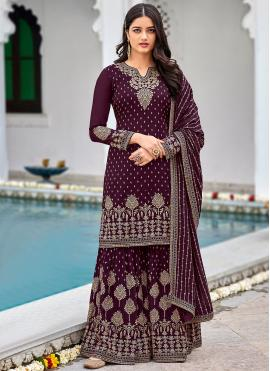 Faux Georgette Sequins Designer Palazzo Salwar Kameez in Purple