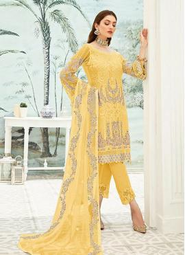 Faux Georgette Yellow Pant Style Suit