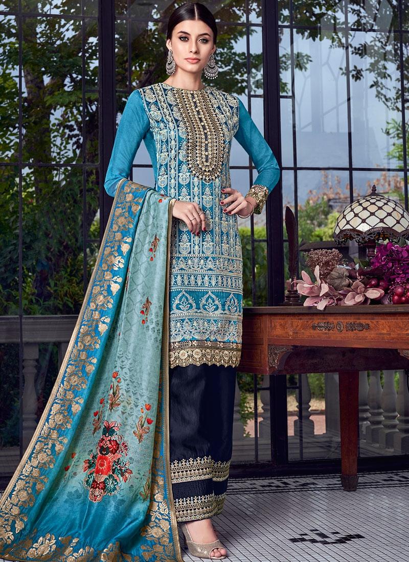 Festal Blue Chanderi Designer Pakistani Suit