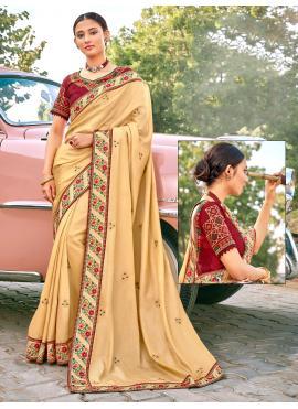 Festal Cream Patch Border Fancy Fabric Traditional Designer Saree
