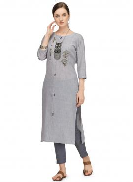 Festal Fancy Fabric Fancy Grey Designer Kurti