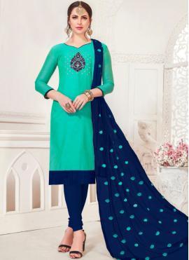 Festal Sea Green Embroidered Silk Churidar Salwar Suit