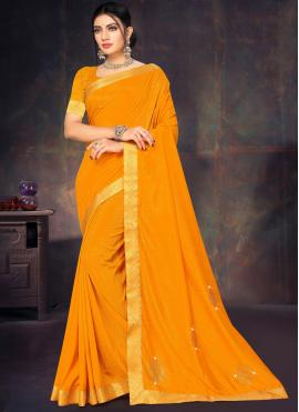 Festal Silk Lace Yellow Designer Saree