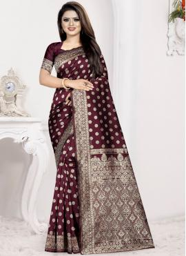 Festal Wine Weaving Art Silk Traditional Saree