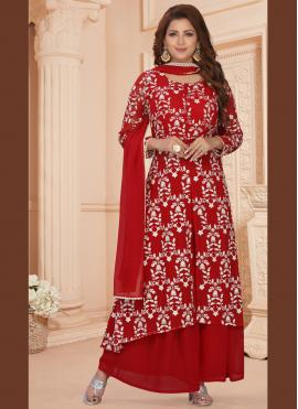 Fetching Faux Georgette Embroidered Readymade Suit