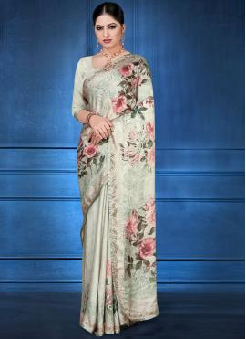 Fetching Georgette Satin Festival Printed Saree