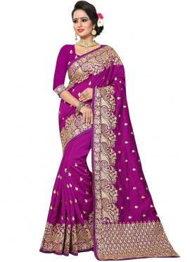 Fetching Purple Embroidered Designer Traditional Saree