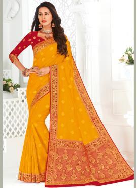 Fetching Woven Silk Yellow Contemporary Saree