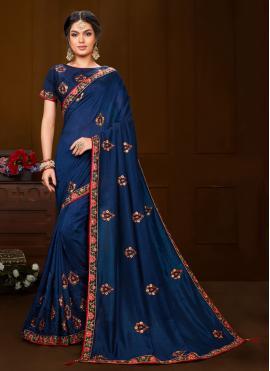 Fine Blue Party Contemporary Saree