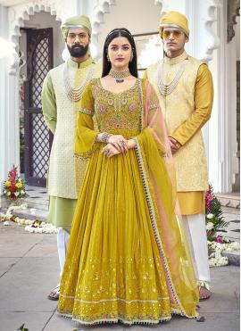 Fine Embroidered Georgette Green Floor Length Anarkali Salwar Suit