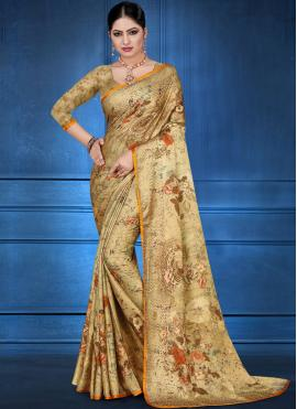 Fine Georgette Satin Festival Printed Saree