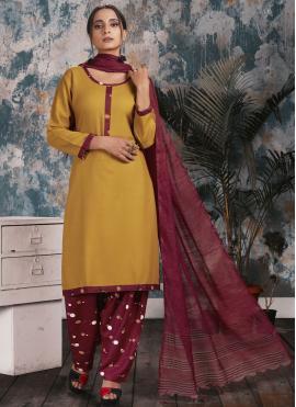 Fine Print Rayon Mustard Punjabi Suit