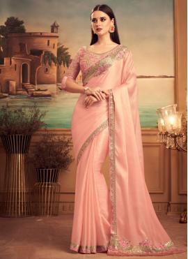 Fine Silk Pink Designer Traditional Saree