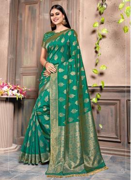 Fine Silk Weaving Green Contemporary Saree