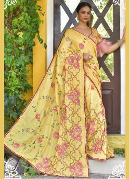 Fine Yellow Sequins Silk Classic Saree