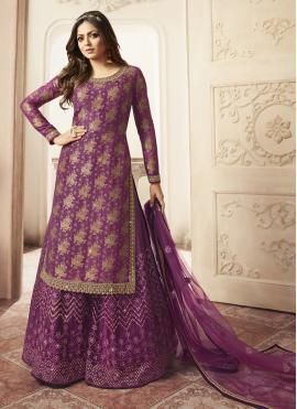 Fine Zari Jacquard Designer Palazzo Salwar Suit
