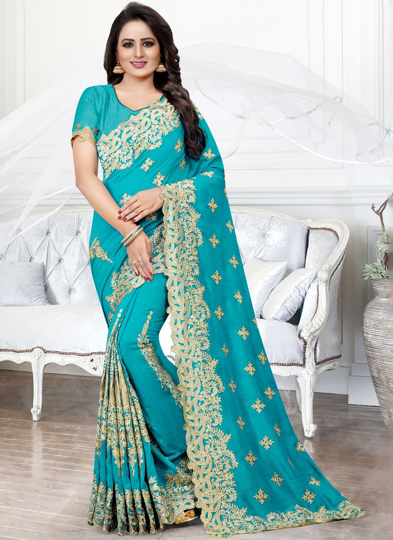 Firozi Embroidered Reception Traditional Saree