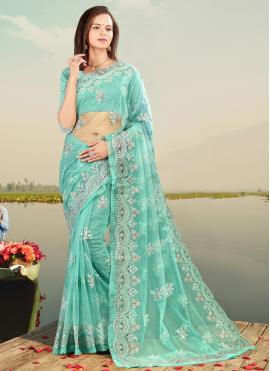 Firozi Net Sangeet Designer Saree