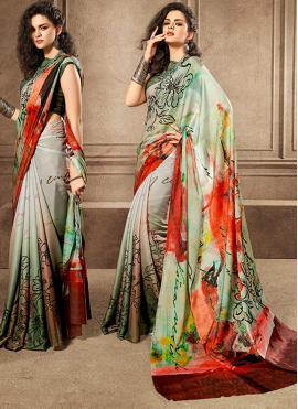 Flamboyant Digital Print Silk Classic Saree