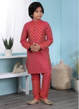 Flamboyant Embroidered Work Cotton Silk Pink Kurta Pyjama