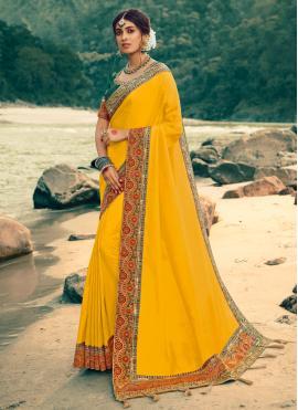 Flamboyant Silk Patch Border Yellow Contemporary Saree