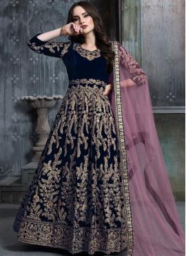 Flamboyant Velvet Zari Blue Anarkali Salwar Kameez
