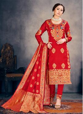 Flamboyant Weaving Banarasi Silk Pant Style Suit