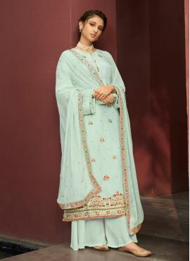 Flattering Embroidered Blue Jacquard Silk Designer Palazzo Salwar Kameez