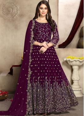 Flattering Faux Georgette Party Anarkali Salwar Suit