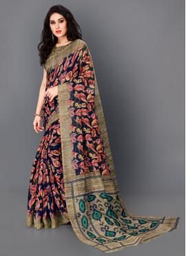 Flattering Floral Print Multi Colour Silk Trendy Saree