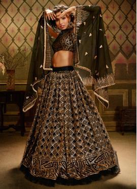 Flawless Sequins Net Black Trendy Lehenga Choli