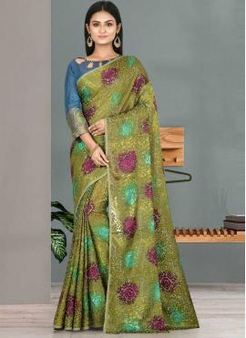Flawless Weaving Green Designer Traditional Saree