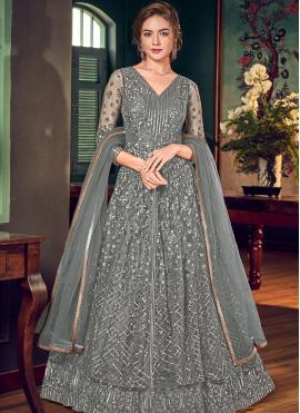 Floor Length Anarkali Salwar Suit Thread Work Fancy Fabric in Grey