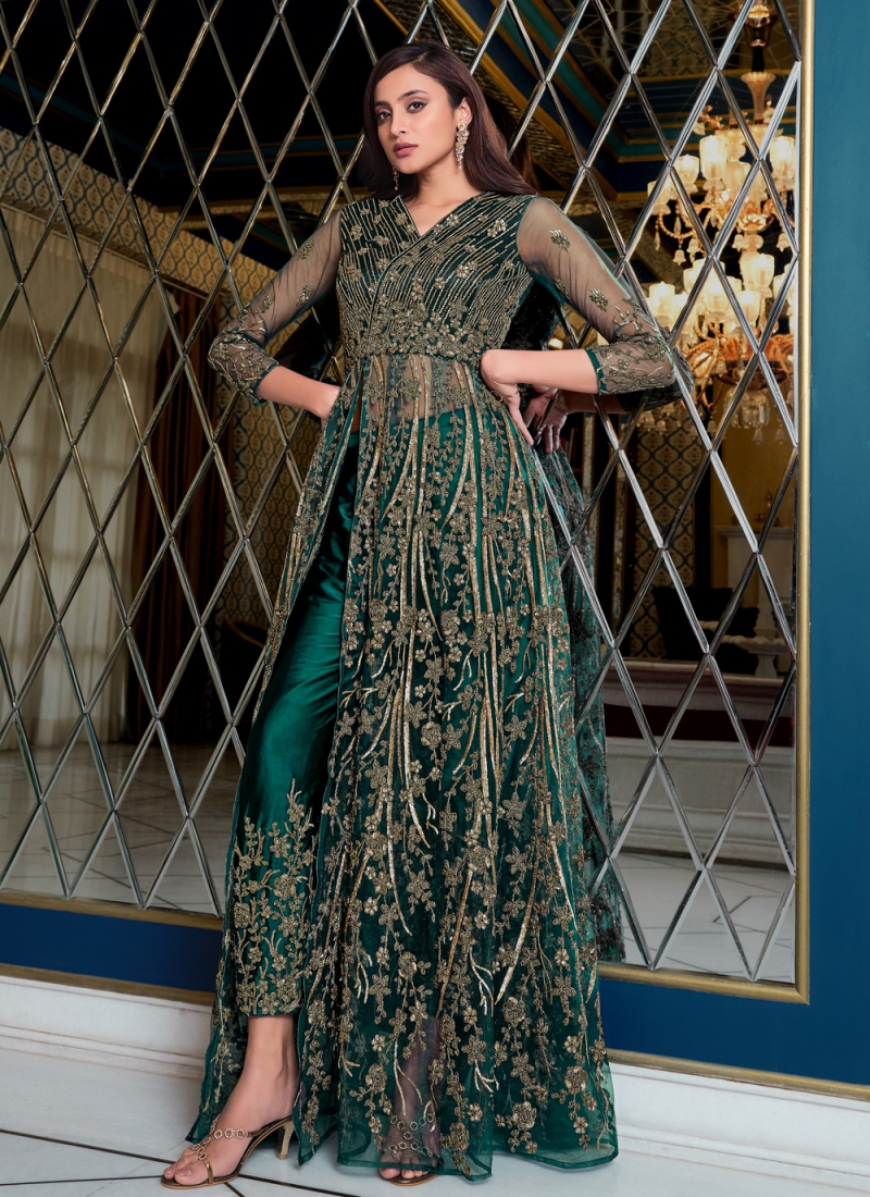 Floor Length Anarkali Suit Sequins Net in Blue