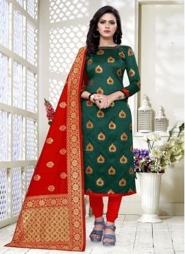 Floral Banarasi Silk Festival Churidar Salwar Suit
