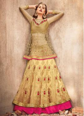 Floral Embroidered Net Gold Lehenga Choli