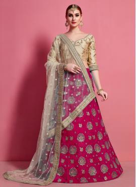 Floral Lace Art Silk Rani A Line Lehenga Choli